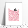 Limited edition print of a little yacht sailing the big blue. The beautiful simplicity of this graphic pastel pink Scandinavian coastal landscape is fresh and fun.