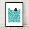 Nautical Scandinavian style print of a little yacht sailing the big blue.
