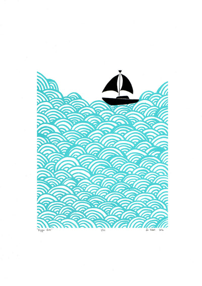 Limited edition print of a little yacht sailing the big blue. The beautiful simplicity of this graphic Scandinavian coastal landscape is fresh and fun.