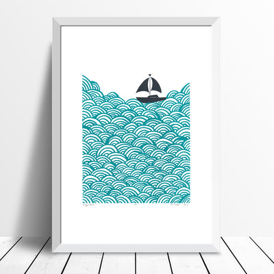 Bigger Boat Screen Print in Marine Green
