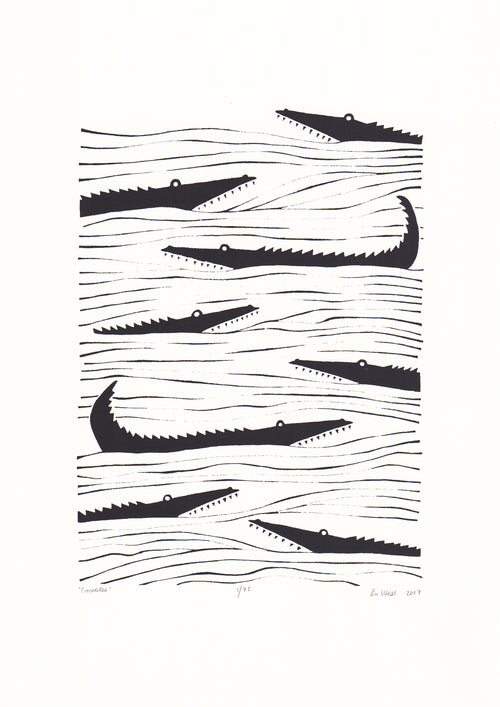 Crocodiles Screen Print in Black