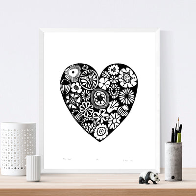 Botanical heart shaped print in monochrome black with simple Scandinavian style patterns. Inspired by the indigenous Fynbos flowers of South Africa.