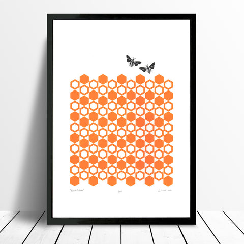 Graphic fine art print of delightful bees buzzing over golden orange honeycomb. Inspired by the hexagonal patterns found in ancient Moroccan tiles.
