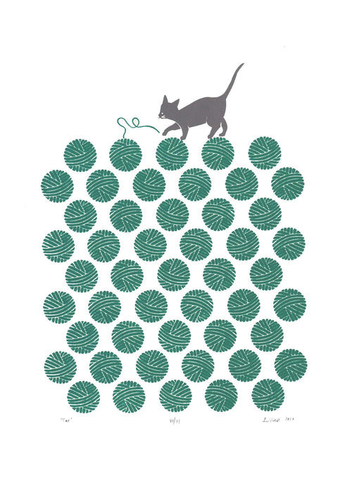 Cat Screen Print in Teal Green