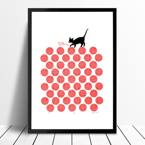 Hello Kitty! Limited Edition silkscreen print of a playful little cat entangled in a dotty pattern of bright cherry red balls of knitting wool.