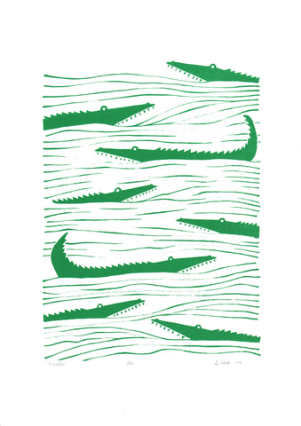 Crocodiles Screen Print in Emerald Green