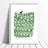 Deer Screen Print in Pine Green and Black