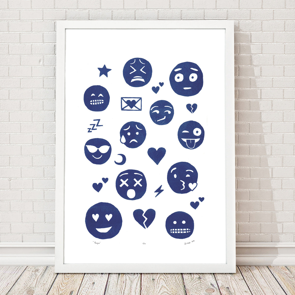 A playfully illustrated graphic print featuring your favourite emojis. This quirky, one-of-a-kind art print will make a witty conversation piece in your home.