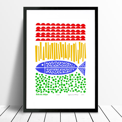 Nautical style Fish and Chips print with simple Scandinavian folk patterns. The bold primary colours of this coastal artwork will bring a quirky beach vibe to your home.