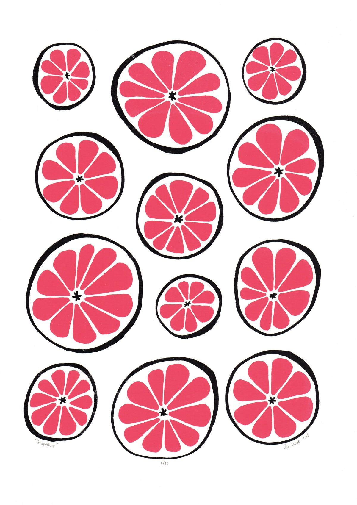 Grapefruit Screen Print in Ruby Red