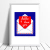 Charming and romantic fine art print of a handwritten I Love You note in a postal envelope in deep cobalt blue and red. Inspired by Sixties Pop Art style.
