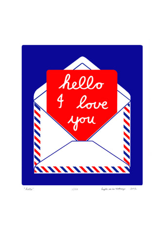 Hello Screen Print in Cobalt and Crimson