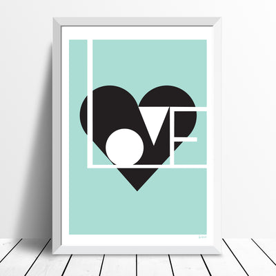 Love print (duck egg) - framing available
