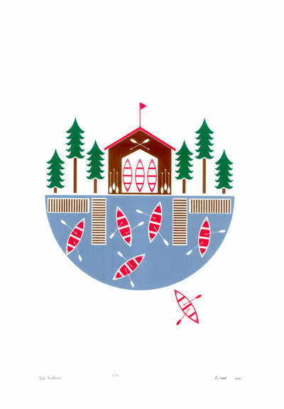 Lake Boathouse Screen Print