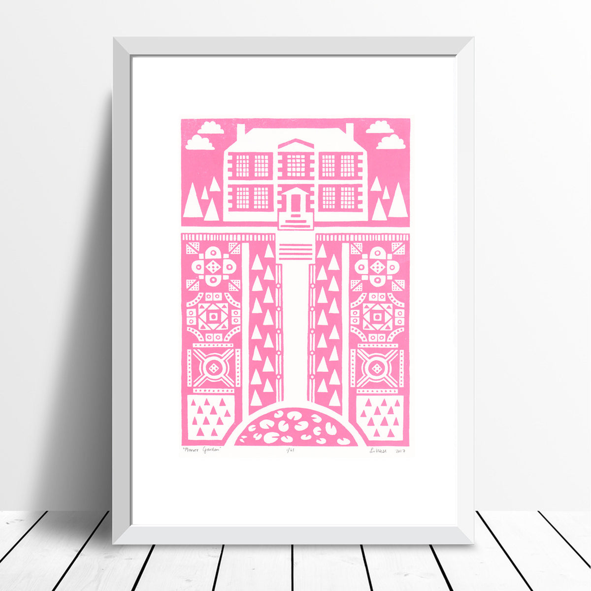 Manor Garden Screen Print in English Rose