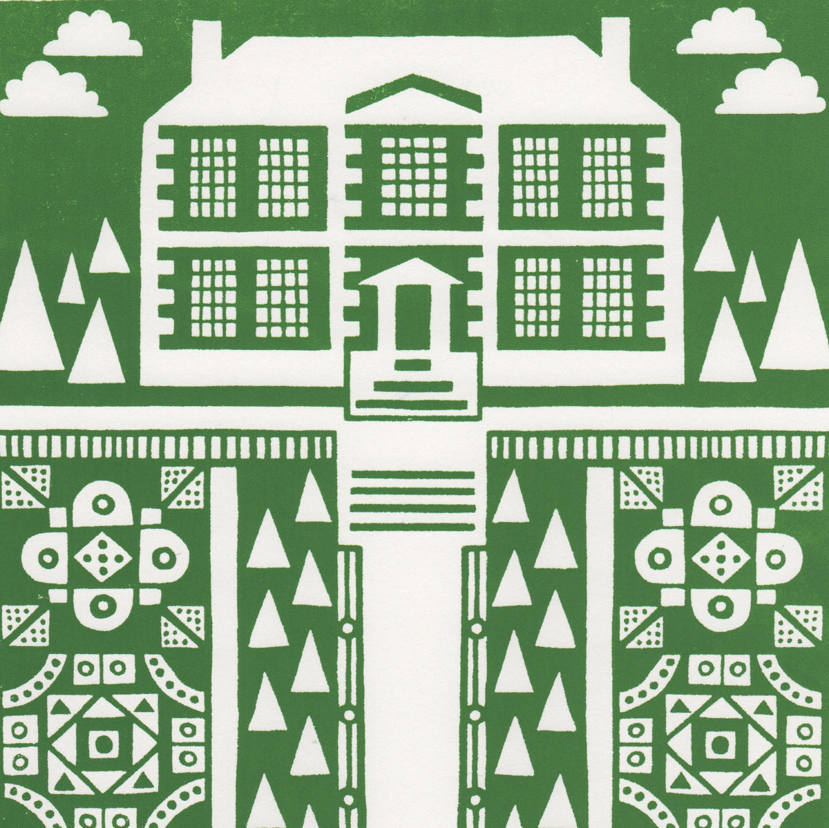 Manor Garden Screen Print in Heritage Green