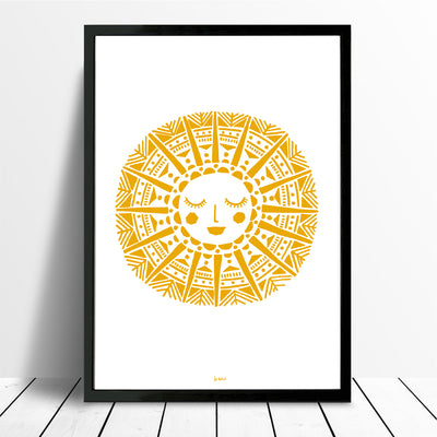 Maya Sun Giclee Print in Yellow Ochre