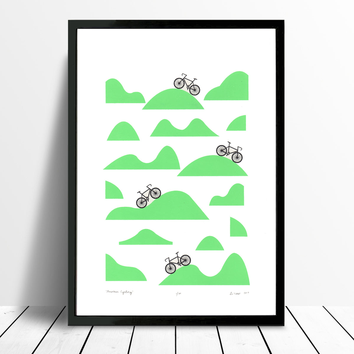 Mountain Cycling Screen Print in Retro Mint