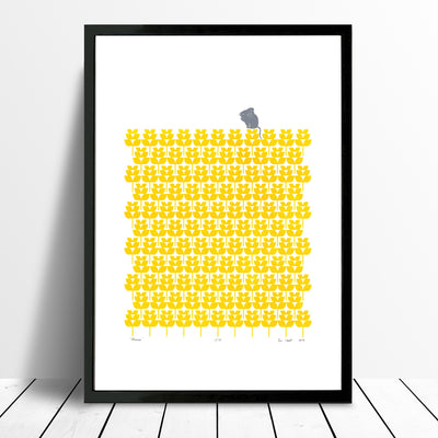 Adorable print of a little mouse with a harvest of buttercup yellow wheat fields. This bright print will add a touch of modern retro Scandinavian to your home.