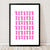 Retro style graphic pattern print of the classic Italian stovetop coffeemaker in bold neon pink. This simply illustrated art print is playful and modern.