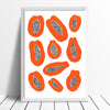 Illustrated Scandinavian style print of juicy Papayas. The simple shapes of the tropical fruit in warm burnt orange creates contrast with the dotty black seeds.
