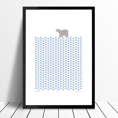 Polar Bear Screen Print in Ice Blue