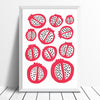 Scandinavian style kitchen wall art print of simple pomegranates. This bold red pattern of fruit creates contrast with the organic pomegranate seed shapes.