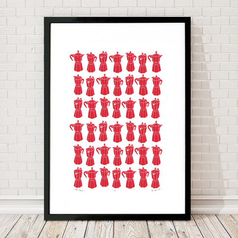 Retro style graphic pattern print of the classic Italian stovetop coffeemaker in bold firetruck red. This simply illustrated art print is playful and modern.