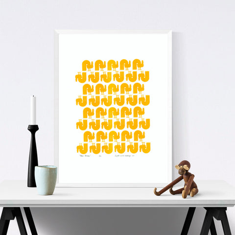Scandinavian style graphic pattern print of retro Roosters in beautiful Buttercup Yellow. Create a modern rustic feel in you home with modern wall art.