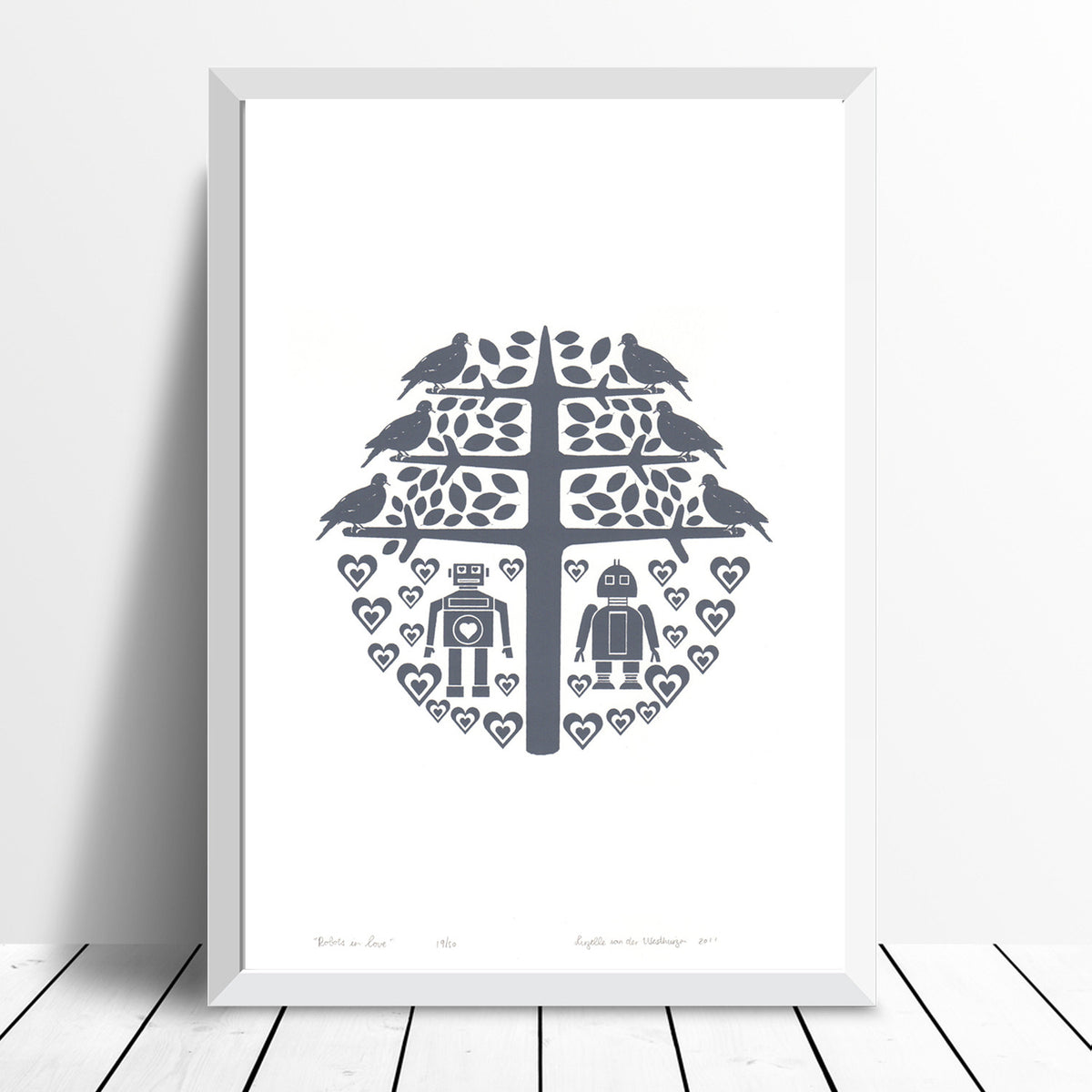 Robots in Love print (grey) - framing available