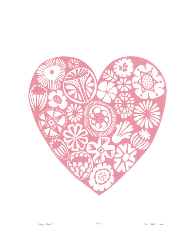 Botanical heart shaped print in pretty pastel rose quartz pink in a simple Scandinavian style. Inspired by the indigenous Fynbos flowers of South Africa.