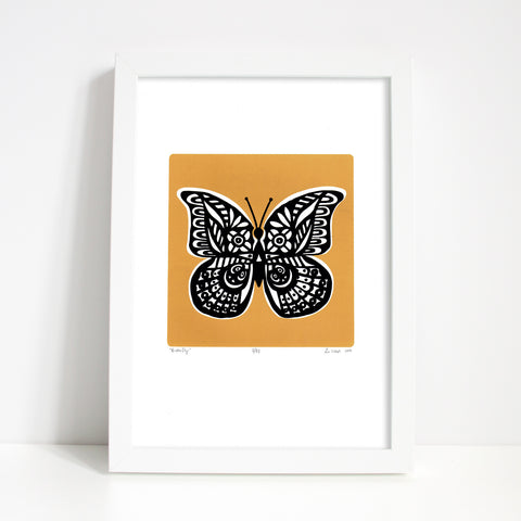 Graphic botanical butterfly print with rich and spicy saffron hue. Add a hit of statement golden yellow sunshine to your home with this limited edition artwork.