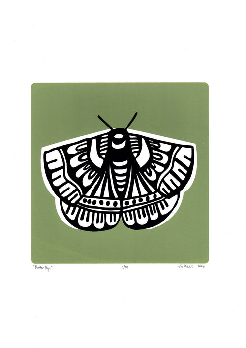 Botanical butterfly print with leafy and sophisticated sage green and black. This fine art print will bring the charm of an English Garden to your home.