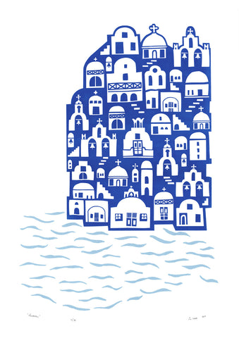 Playfully illustrated travel wall art print of Santorini's rustic cobalt and white seaside houses. This nautical Mediterranean landscape is cool, fresh and fun.