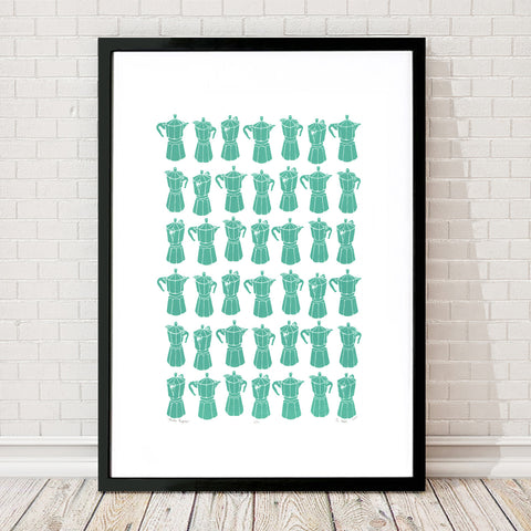 Retro style graphic pattern print of the classic Italian stovetop coffeemaker in soft sea green. This simply illustrated art print is playful and modern.