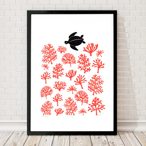 Nautical style limited edition print of a playful sea turtle in its red coral reef ocean habitat. Inspired by my travels to the tropical islands of Hawaii.