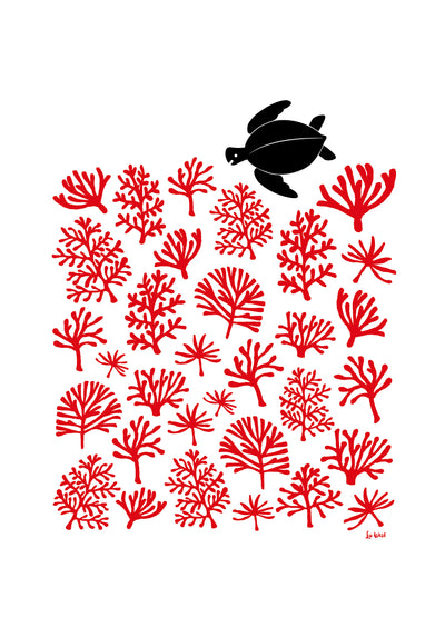 Sea Turtle Reef Giclee Print in Aurora Red
