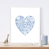 Botanical heart shaped print in pretty pastel serenity blue in a simple Scandinavian style. Inspired by the indigenous Fynbos flowers of South Africa.