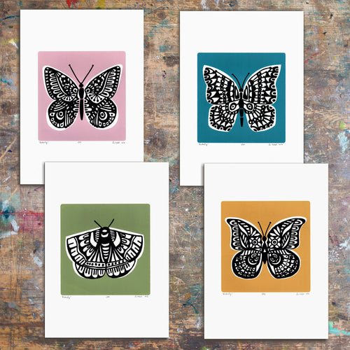 Set of four limited edition Butterfly screen prints in slate teal, powder pink, saffron yellow and sage green. Illustrated botanical prints in a simple, Scandinavian style.