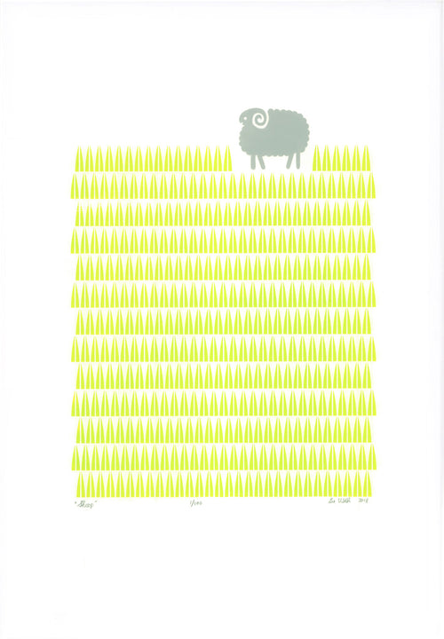 Sheep Screen Print in Winter Melon Green