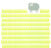 Scandinavian style graphic landscape print of a little sheep in a bright green grass meadow. A modern and playful addition to a well-designed baby nursery.