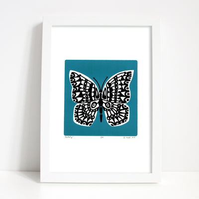 Botanical butterfly print with contemporary slate teal and black details. The strong blue-green hue of this silkscreen print will restore balance in your home.