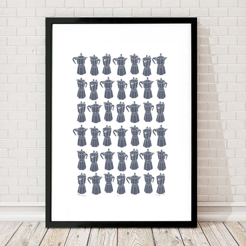 Retro style graphic pattern print of the classic Italian stovetop coffeemaker in striking steel grey. This simply illustrated art print is playful and modern.
