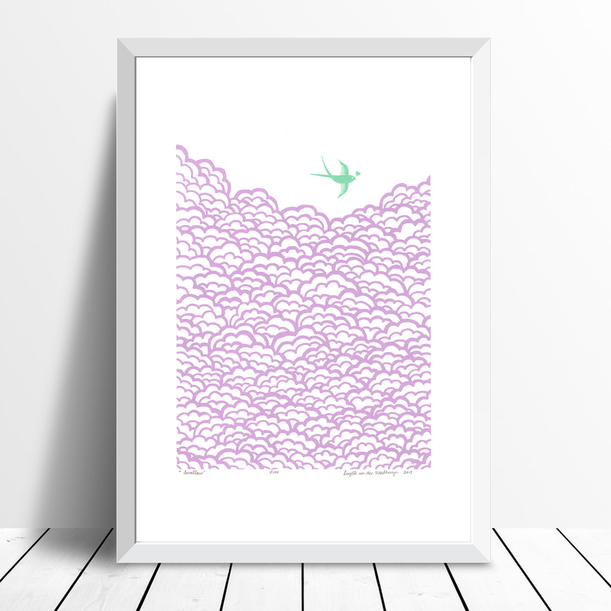 Swallow Screen Print in Lilac and Aquamarine