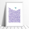 Graphic Scandinavian Style fine art print of a little bird flying high above the clouds. The jewel tones of amethyst will bring Nordic charm to your interiors.