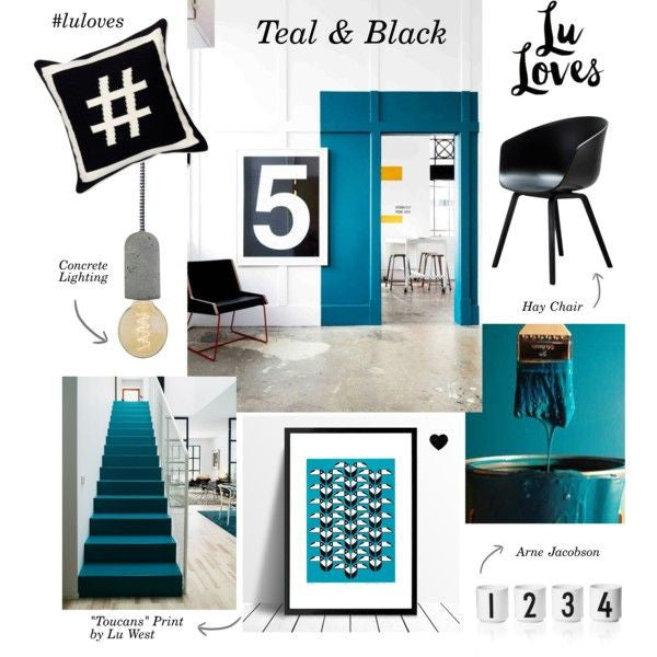 Interiors mood board featuring Lu West'sToucans tropical bird Screen Print in teal and black