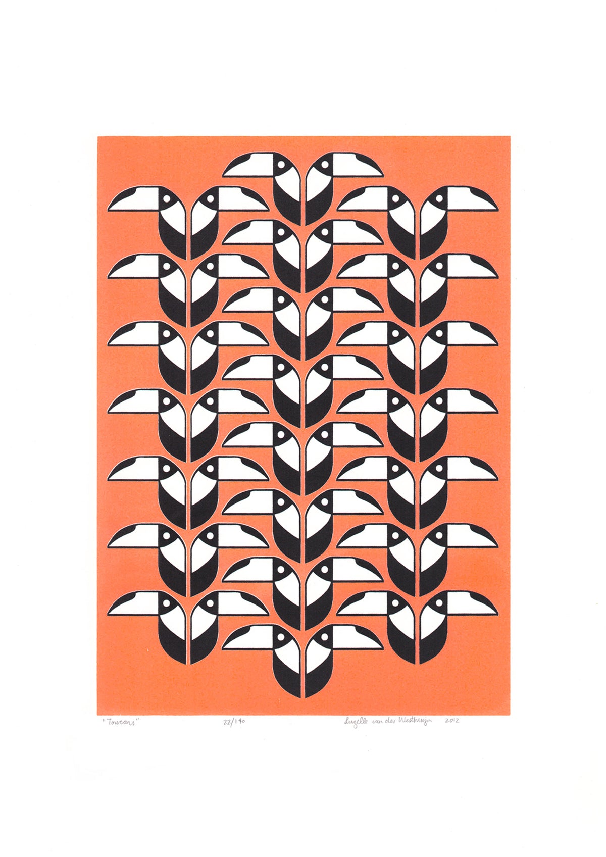 Toucans Screen Print in Neon Coral