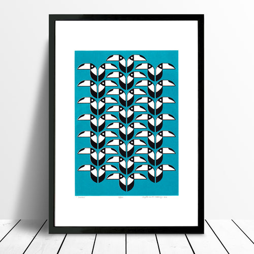Toucans Screen Print in Teal