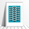 Toucans tropical bird Screen Print in teal and black