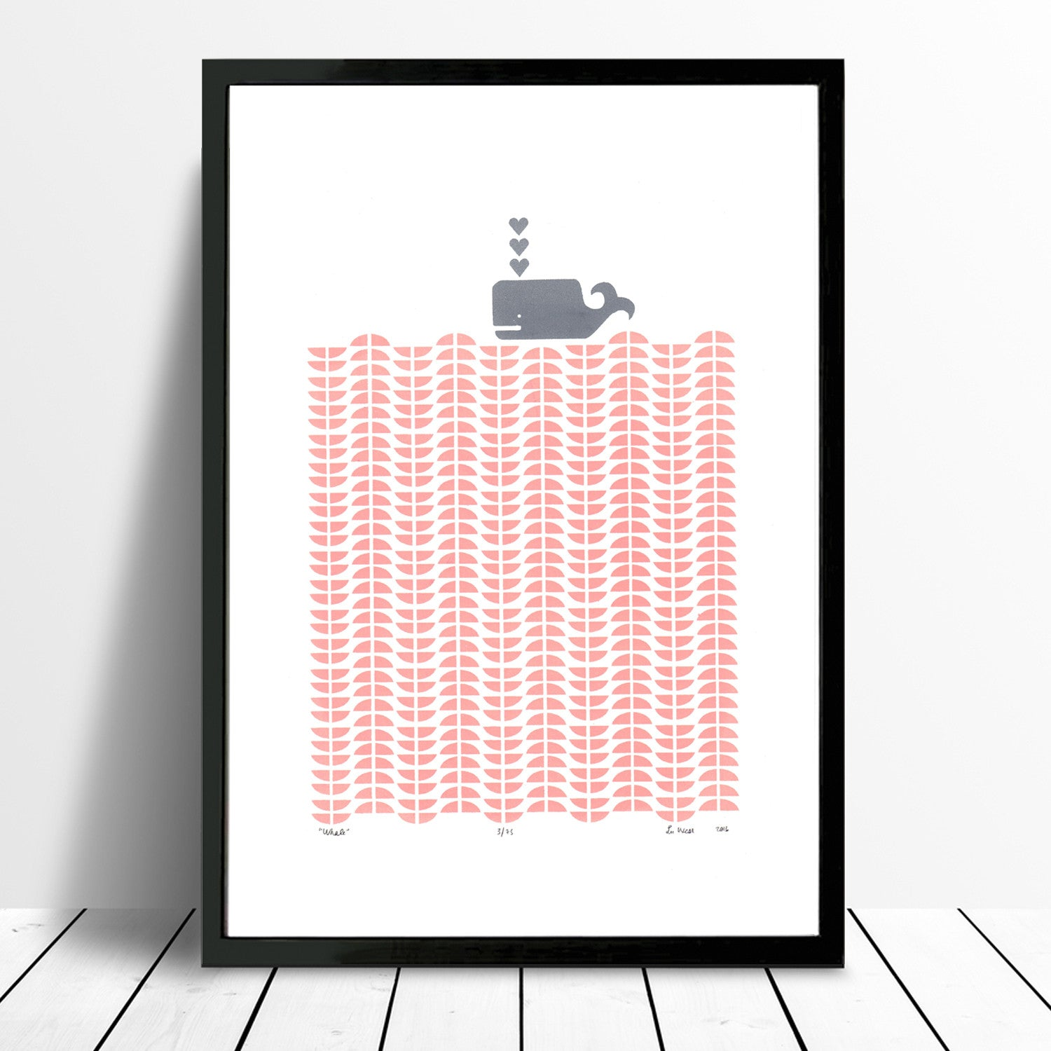 Whale Screen Print In Rose Blush By Lu West